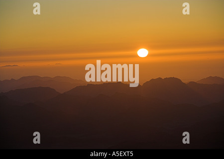 Sunrise from Moses Mountain, Sinai Peninsular, Egypt - Stock Image