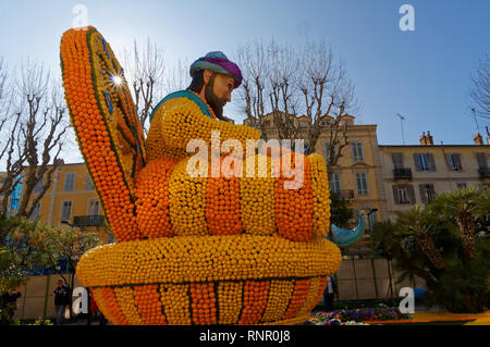 February 16th 2019 Menton, France,  the 86th LEMON FESTIVAL (Ali Baba on the tron) during the Carnival of NICE - Stock Image