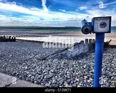 Penmaenmawr Beach & telescope , North Wales. - Stock Image