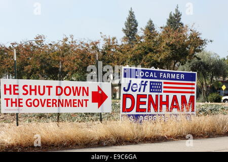Modesto, Stanislaus county, California, USA. October 24, 2014. Rhetoric heats up the race for California's 10th - Stock Image