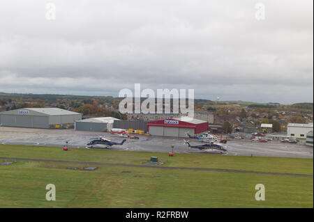 Helicopters outside Babcock Hanger Aberdeen Airport. Scotland - Stock Image