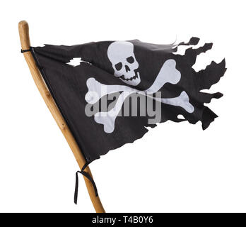 Flying Torn Pirate Flag Isolated on White Background. - Stock Image