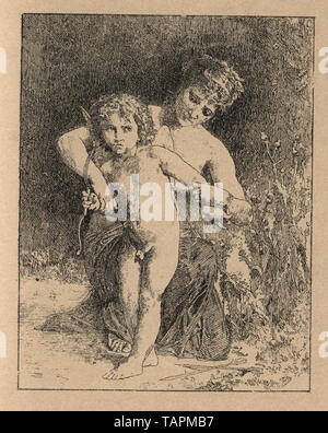 Woodcut engraving of a young woman holding back the arms of cupid, German, 19th Cnetury - Stock Image