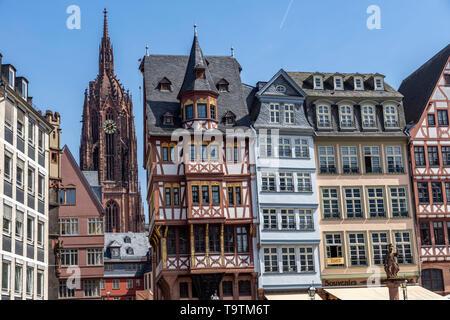 The Ršmer, City Hall of Frankfurt am Main, Ršmerberg Platz, landmark of the city, rows of houses Samstagsberg, Dom, - Stock Image