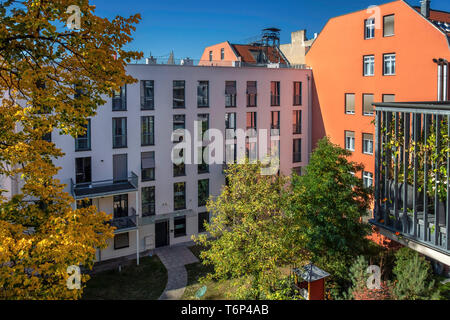 Inner Courtyard of Apartment building in Autumn - Berlin Mitte - Stock Image