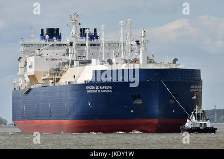 LNG Tanker Christophe de Margerie bound for Blohm&Voss shipyard, Hamburg - Stock Image