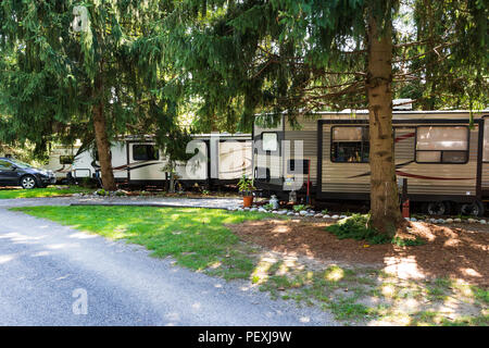 PORTERSVILLE, PA, USA-12 AUGUST 2018: RV trailers lined up under a canopy of evergreens in Bear Run park in west-central Pennsylvania. - Stock Image