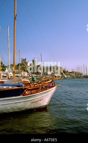 The harbour and boats at Bodrum Turkey - Stock Image