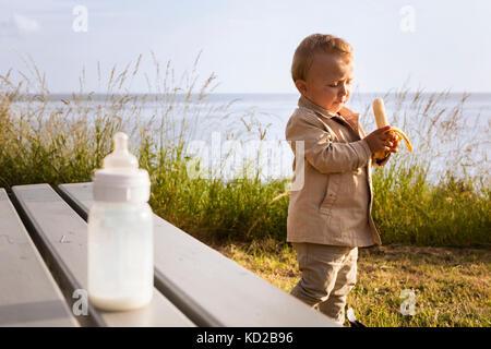 Baby boy (18-23 months) holding banana - Stock Image