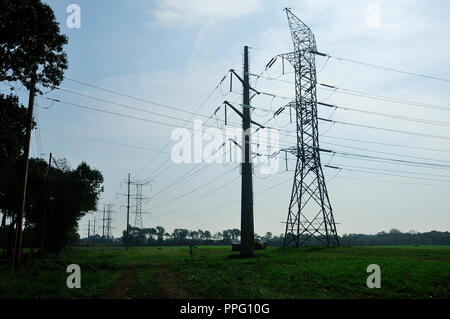 High Voltage Electric transmission Tower. - Stock Image