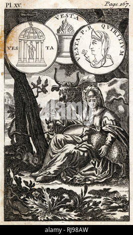 The virgin goddess of the hearth, custodian of the sacred fire brought by Aeneas from Troy, and served by the Vestal Virgins - Stock Image