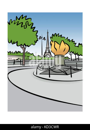 Illustration of the Flame of Liberty in Paris, France - Stock Image