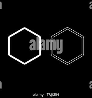 Hexagon shape element icon outline set white color vector illustration flat style simple image - Stock Image
