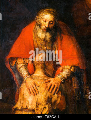 The Return of the Prodigal Son, painting (detail), c. 1668 by Rembrandt - Stock Image