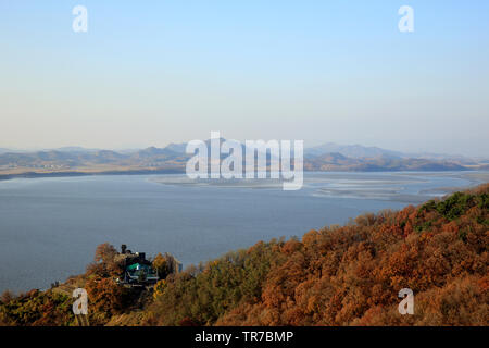 North Korea and Han River, viewed from South Korea - Stock Image