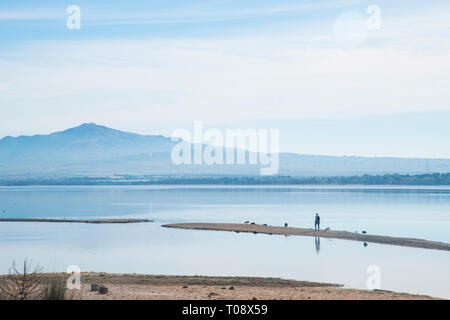Santillana reservoir. Manzanares El Real, Madrid province, Spain. - Stock Image