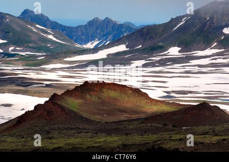 Gorely volcano caldera on Kamchatka - Stock Image