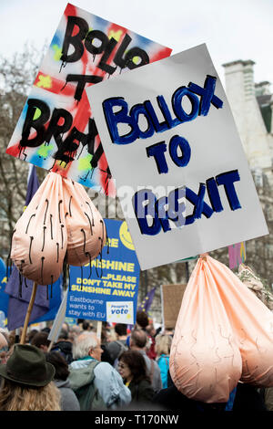 Bollox to Brexit placards at the People's Vote March, London, England - Stock Image