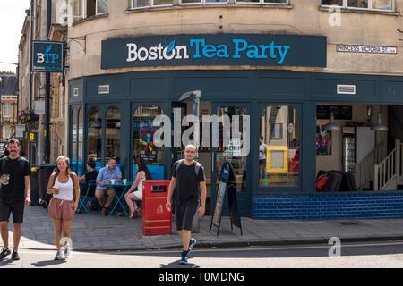 British cafe group Boston Tea Party coffee shop in Princess Victoria St, Bristol, UK - Stock Image