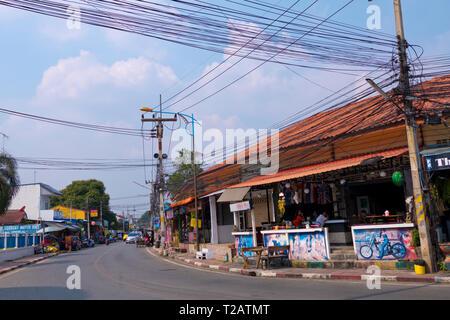 Maenamkwai Road, main street, Kanchanaburi, Thailand - Stock Image