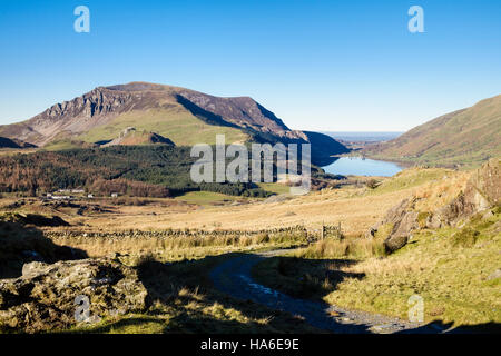 Llyn Cwellyn and Mydydd Mawr seen from track above Rhyd-Ddu in Snowdonia National Park. Beddgelert, Gwynedd, Wales, - Stock Image