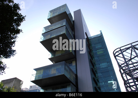 manchester civil justice centre law courts modern glass architecture design building outside blue sky exterior travel - Stock Image