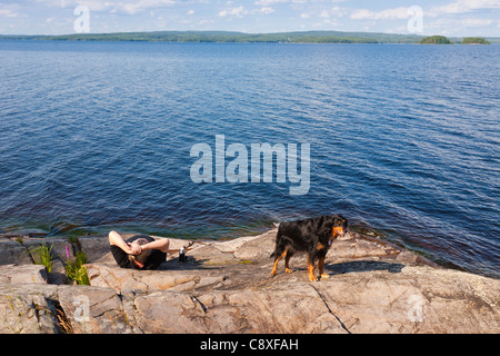 On the cliffs by the Glafsfjorden, Arvika, Sweden - Stock Image