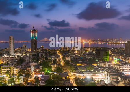 View of Bandra Worli Sealink bridge, Mumbai, India - Stock Image