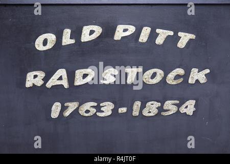 Old coal trolley waggon car Old Pit, 1763-1854, Somerset coalfield, Radstock, Somerset, England, UK - Stock Image