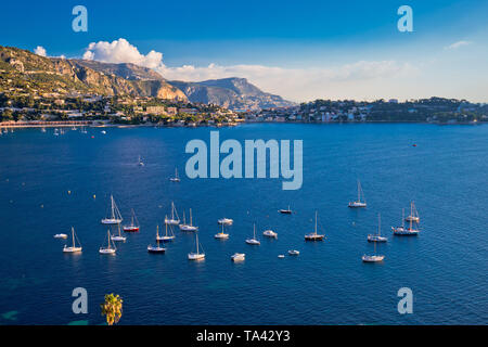 Villefranche sur Mer idyllic French riviera bay and Cap Ferrat view, Alpes-Maritimes region of France - Stock Image