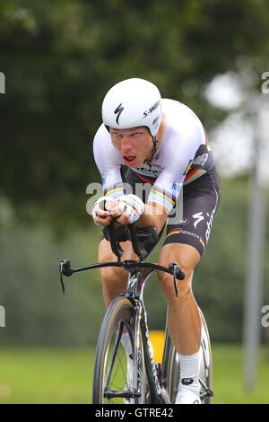 Bristol, UK.  10th September 2016. Tour of Britain stage 7a, time trial.  Tony Martin of Etixx Quick Step wins the - Stock Image