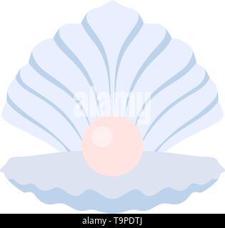 Open Seashell Icon. Flat Color Design. Vector Illustration. - Stock Image