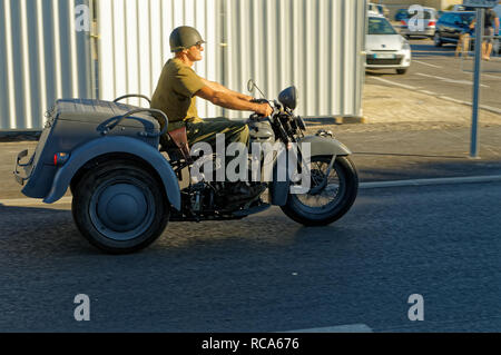 3 Wheels Harley-Davidson Servi-Car during the 74th Anniversary of Operation Dragoon, the Allied invasion of the French Riviera (15 - 26 August 1944) - Stock Image