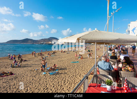 View over Las Canteras beach from restaurant table in Las Palmas, Gran Canaria, Canary Islands, Spain. - Stock Image
