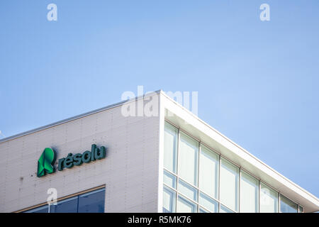MONTREAL, CANADA - NOVEMBER 4, 2018: Logo of Resolute Forest products, or Resolu on their main office in Montreal. It is the Canadian leader wooden pr - Stock Image