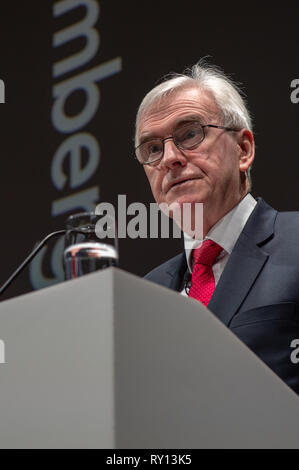 London, United Kingdom. 11 March 2019. Shadow Chancellor John McDonnell gives a pre-spring statement speech to business leaders at Bloomberg in central London. Credit: Peter Manning/Alamy Live News - Stock Image