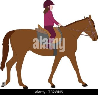 child riding a horse,color illustration - vector - Stock Image