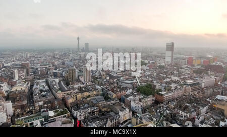 London Town Centre City Aerial View with Beautiful Skyline Clouds feat. Central Apartments Roofs and Buildings in England Great Britain UK - Stock Image