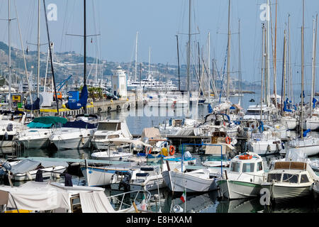 San Remo harbour with yachts and small boats, San Remo, Liguria, Italy - Stock Image