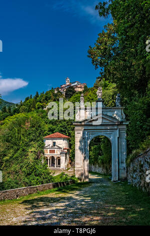 Italy Lombardy Unesco World heritage Site - Sacro Monte di Varese ( Varese sacred Mount ) - X chapel -the crucifixion and arc of Saint ambrogio - Stock Image