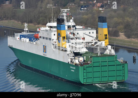 Vasaland passing the Kiel Canal - Stock Image