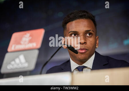 Rodrygo Goes speaks during his presentation as a new player of Real Madrid at the Santiago Bernabeu Stadium in Madrid. - Stock Image