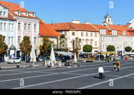 Town Hall Square, Vilnius, Lithuania - Stock Image