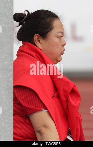 Ostrava, Czech Republic. 20th June, 2019. Wang Zheng competes in hammer throw during the Ostrava Golden Spike, an IAAF World Challenge athletic meeting, in Ostrava, Czech Republic, on June 20, 2019. Credit: Jaroslav Ozana/CTK Photo/Alamy Live News - Stock Image