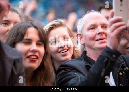 Kaiser Chiefs concert at Elland Road as part of Leeds United's centenary year celebrations. Fans in the crowd. - Stock Image