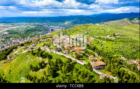 Aerial view of Berat Castle in Albania - Stock Image