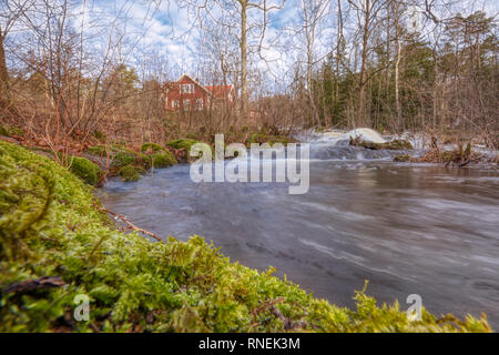 Bergaforsen river and waterfall in Tollered, Sweden - Stock Image