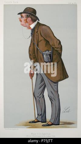 English: Maj. E.H. Egerton, 'Official Handicapper to Jockey Club' Lithograph Aug. 24, 1889, 15'x10.5', Vanity Fair portrait, Men of the Day No. 437 . 1889 35 E.H. Egerton, Vanity Fair, 1889-08-24 - Stock Image