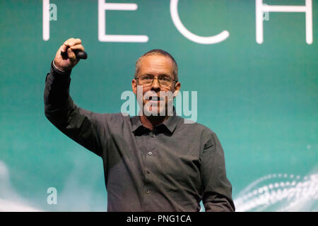 Senior lecturer, Paul Bernal explains why the only way to stop trolling and fake news is to abandon social media, on the Technology Stage, at New Scientist Live - Stock Image