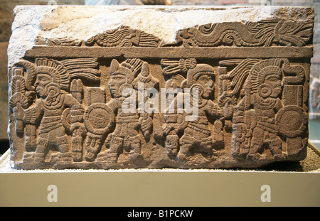 Stone Relief with Aztec Warriors and Dragons, Pre-Columbian Art, National Museum of Anthropology, Chapultepec Park, - Stock Image